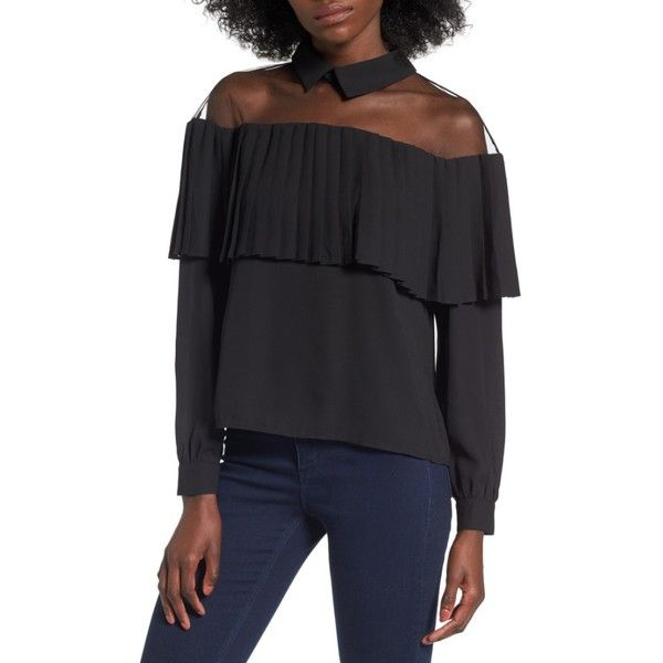 282c9c73 Women's Leith Mesh Ruffle Top ($69) ❤ liked on Polyvore featuring tops,  sweaters, black, see through tops, flutter-sleeve tops, leith, ruffle trim  sweater ...