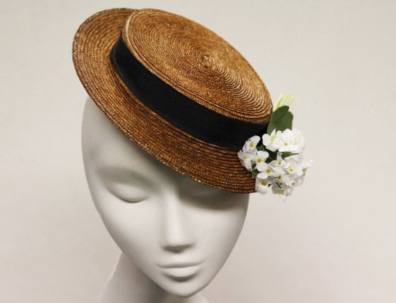 1542be89f2a Cocktail Boater Wedding Fascinator Hat by AndTheyLovedHats ...