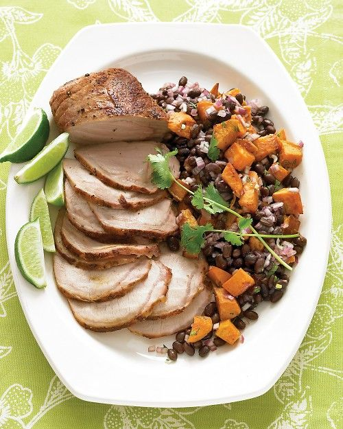 Roasted Pork Loin with Black-Bean and Sweet-Potato Salad - Martha Stewart Recipes. One of my favorites!