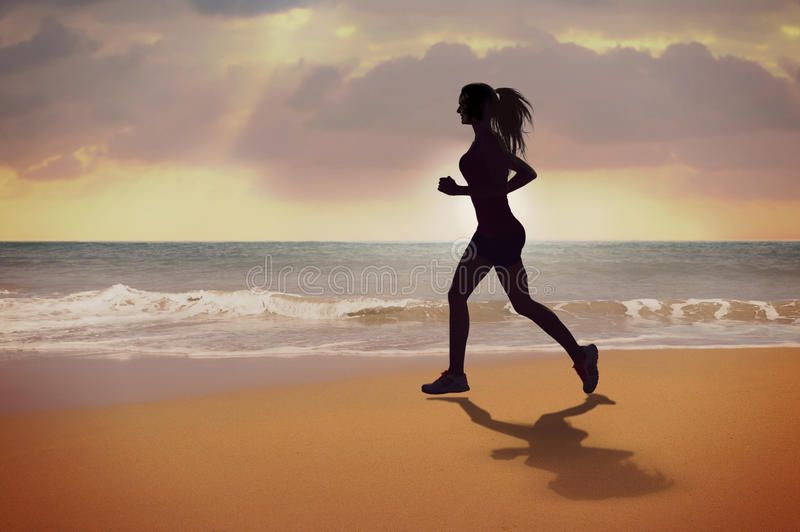 Running Woman Silhouette Running Young Woman On The Beach At Sunset Tropical F Ad Silhouette Young Woman Silhouette Running Silhouette Running Women