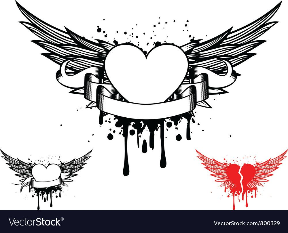 Wings And Heart Vector Image On Herz Mit Flugel Flugel Tattoo Herz