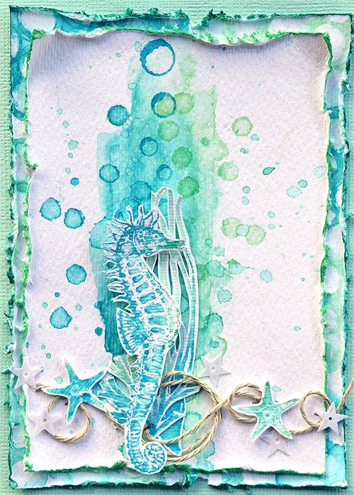 Card by Belinda Spencer using Darkroom Door Watery Washes and Under The Sea Rubber Stamp Sets