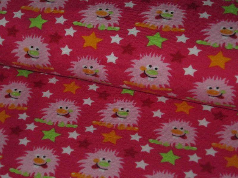 """Organic stretch jersey """"Monster Boys""""  with sweet monster girls in light rose on dark pink background    Design """"Schönes von Emilu"""" , all rights re..."""