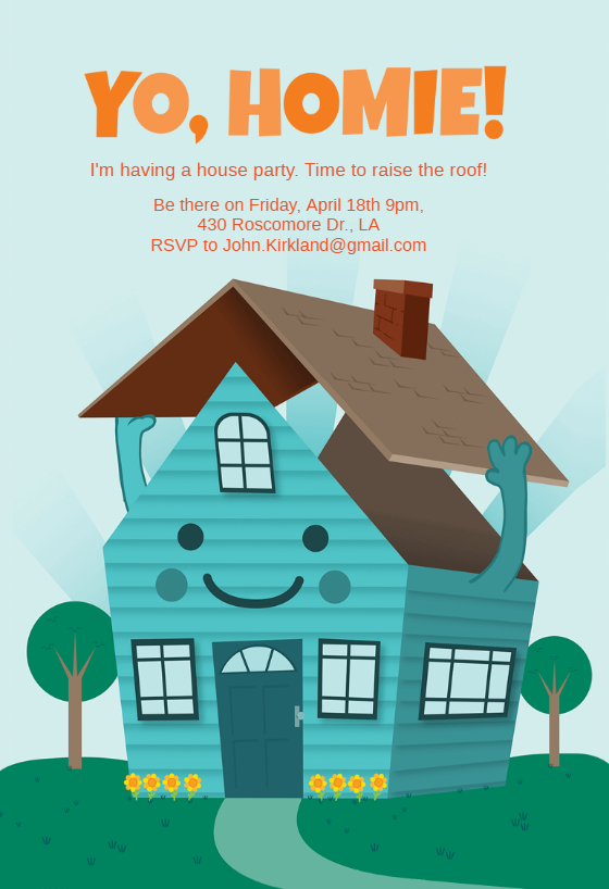Raise The Roof House Party Invitation Template Free Greetings Island In 2021 Party Invite Template House Party Invitation Party Invitations