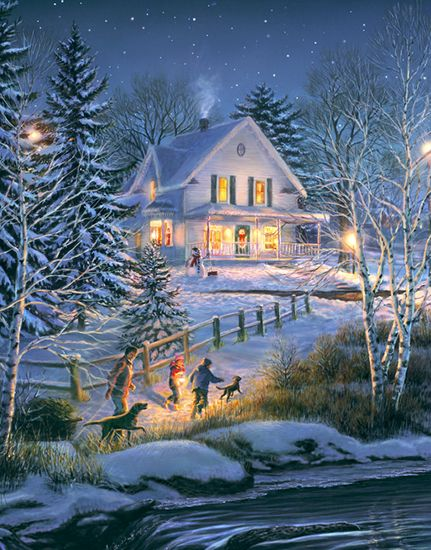 Weihnachtsbilder Usa.Usa By Thomas Kincade 1958 2012 Born In California The Painter