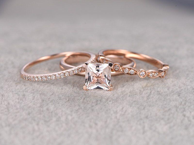 Best Morganite Bridal Ring Set Engagement ring Plain Rose gold Diamond wedding Princess Cut Gemstone Promise Ring Art Deco Band by popRing on Etsy