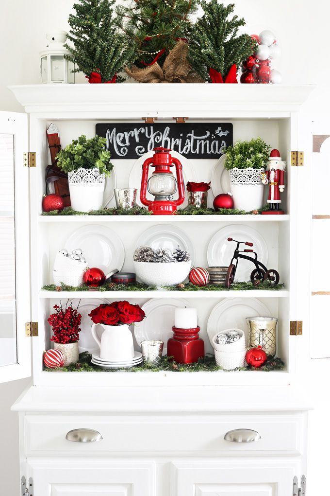 A Decked Styled Christmas Hutch Room DecorationsIdeas