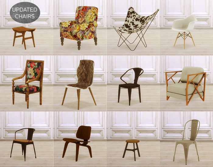 My Sims 4 Blog Updated Chairs By Miosims Sims 4 Custom Content
