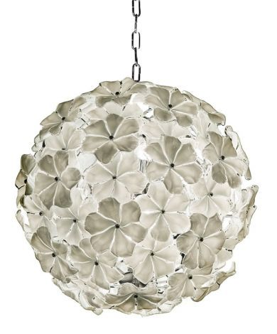Murano Chrome and Glass Flower Ball Chandelier Chandeliers