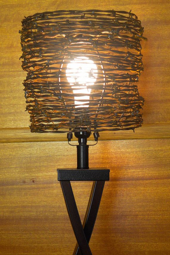 Lamp shade barb wire lamp shade western lamp shade lighting wire lamp shade rusty lamp shade western lamp reclaimed by frankcoleart keyboard keysfo Images