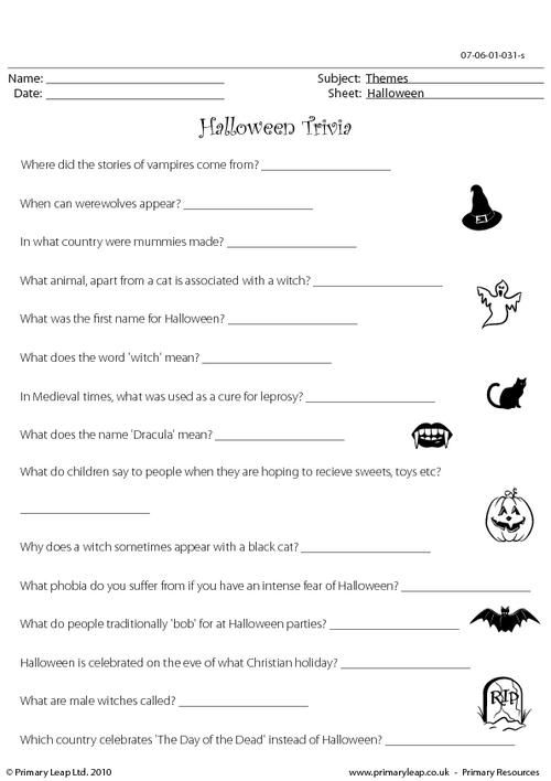 primaryleapcouk halloween trivia hard worksheet - Halloween Quiz For Kids