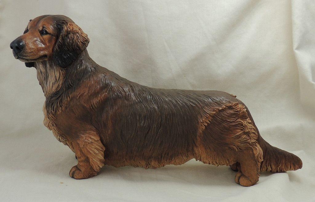 Standard Long Haired Dachshund Original Sculpture Sculpture
