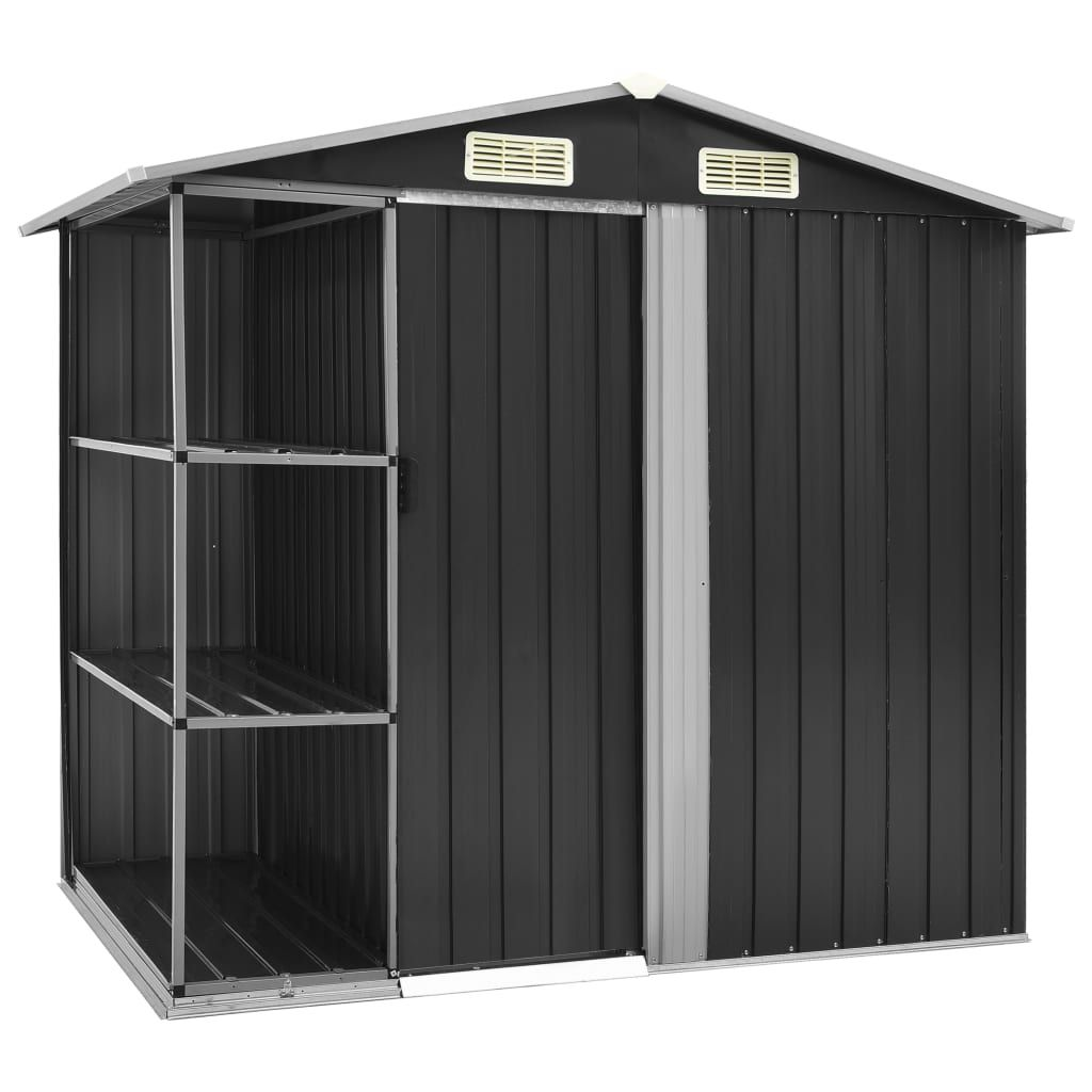 vidaXL Garden Storage with Anthracite Shelves 205 x 130 x 183 cm.