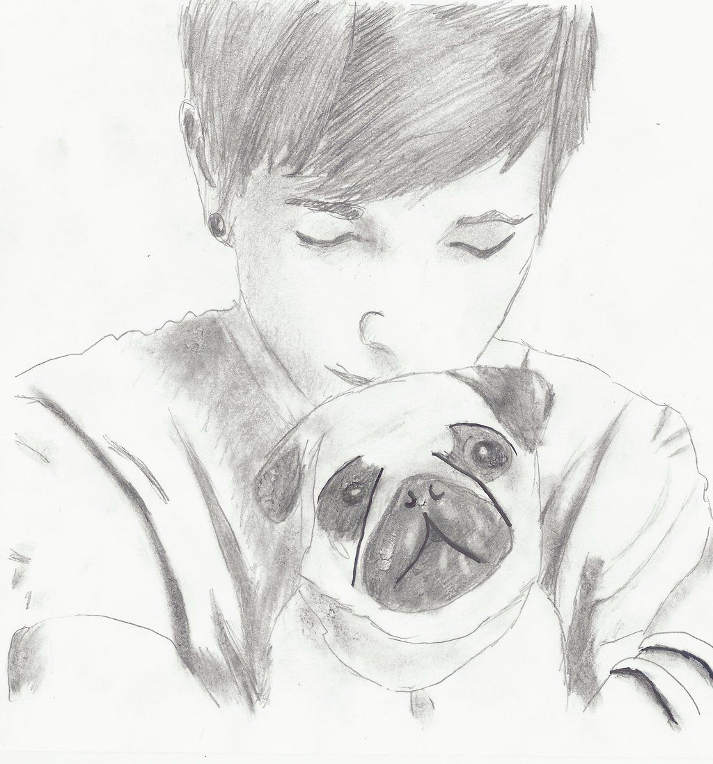 This Is Such A Great Drawing Of Dan And One Of His Pugs Very