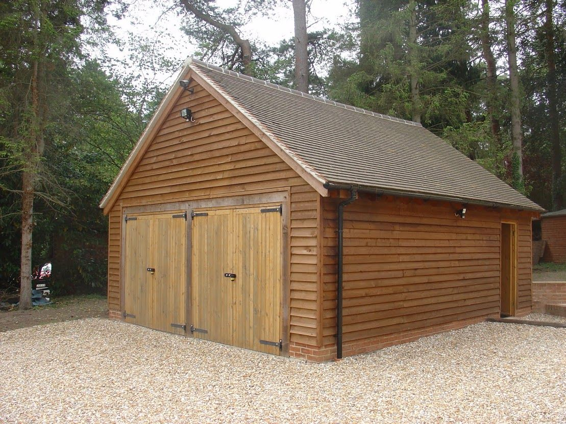 Timber clad garage garages pinterest detached garage for Garage extension designs