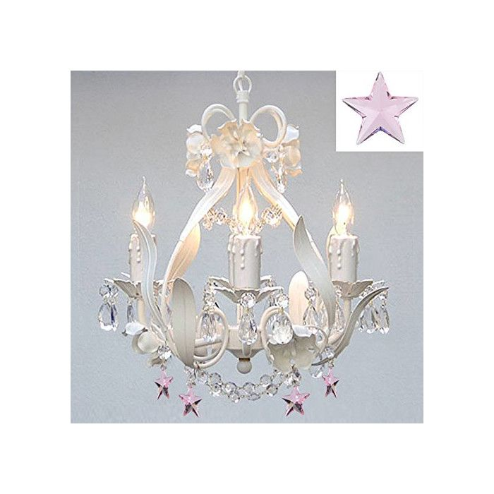 Wrought Iron Crystal Fl White Chandelier With Pink Stars Perfect For Kids Rooms