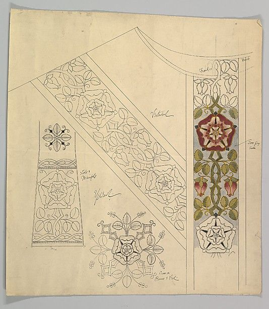 Design for Stole and Maniple Ernest Geldart (British, London 1848–1929) Date: late 19th–early 20th century Medium: Graphite, pen and ink with watercolor Dimensions: sheet: 19 3/4 x 18 in. (50.2 x 45.7 cm) Classification: Drawings Credit Line: Exchange, Royal Institute of British Architects, 1960 Accession Number: 60.724.24