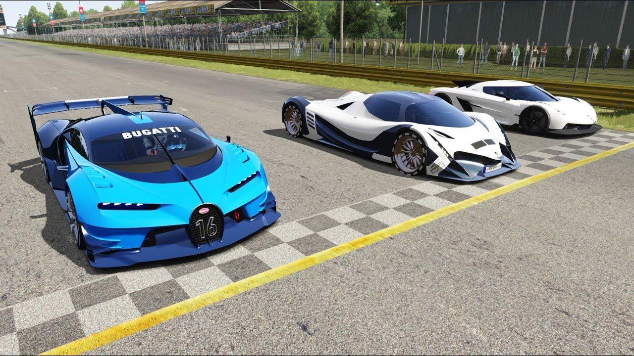 Devel Sixteen Vs Bugatti Vision Gt Vs Koenigsegg Jesko Absolut At Monza Bugatti Amazing Cars Koenigsegg