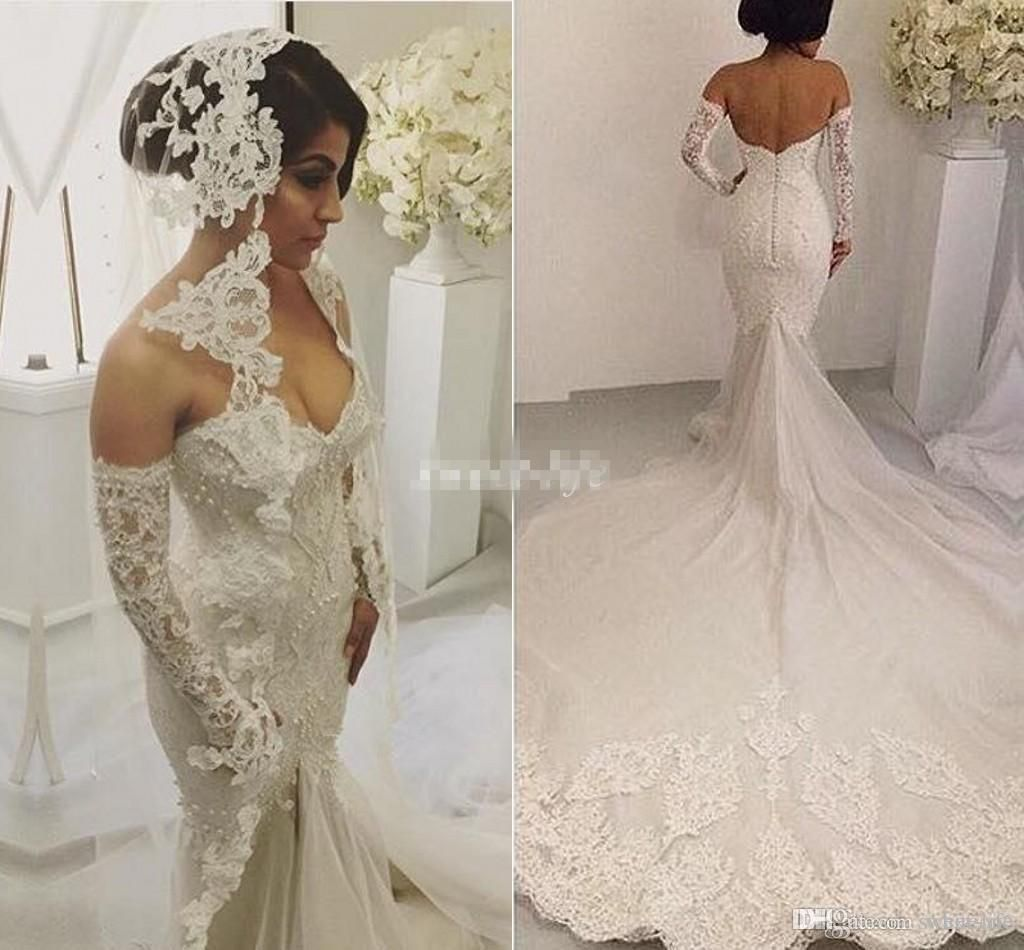 Beach Wedding Dress Luxury Long Sleeves 2016 Y Backless Pearls Liques Cathedral Train Arabic