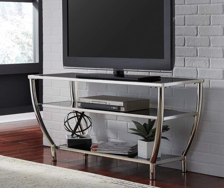 Ashley Blasney Black Chrome Tv Stand, Glass Tv Console