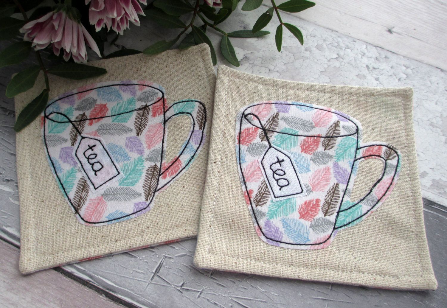 Fabric Coasters - Set of 2 Mug Coasters - Feather Print Fabric Mats by TheCornishCoasterCo on Etsy