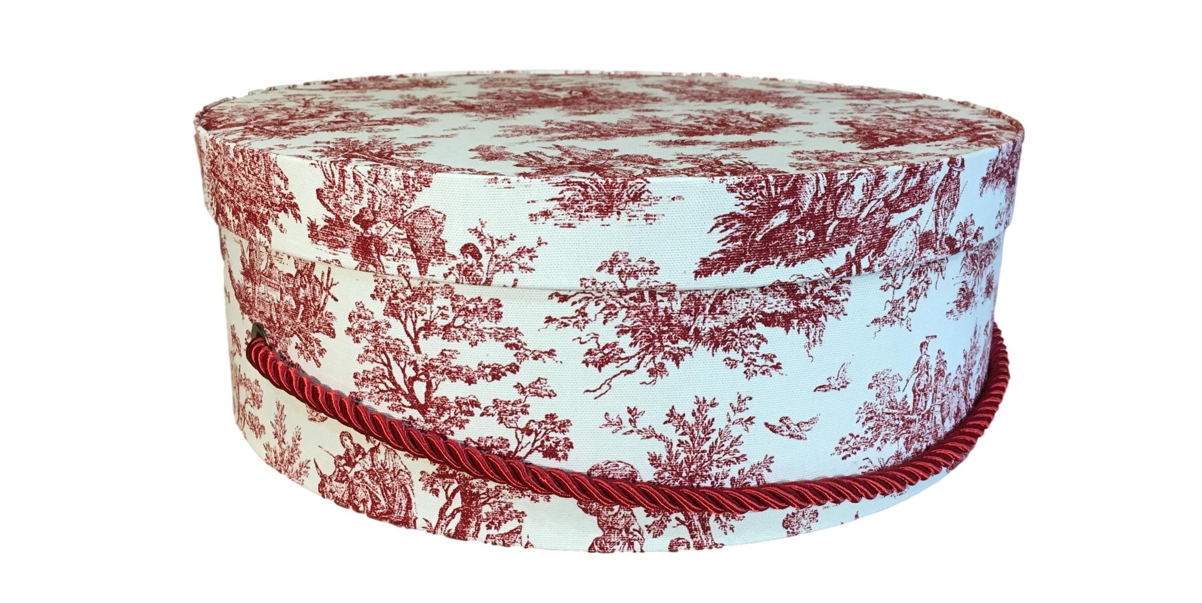 Large Hat Box In Red French Toile Fabric Decorative Fabric Covered Hat Boxes Round Storage Box Keepsake Boxes With Lid Fabric Decor Toile Fabric Hat Boxes