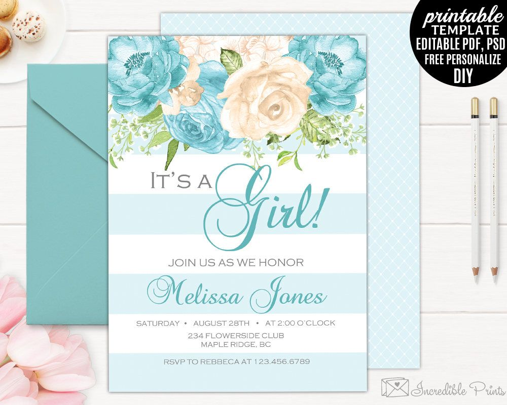 Floral Baby Shower Invitation Template. It\'s a Girl. Printable Blue ...