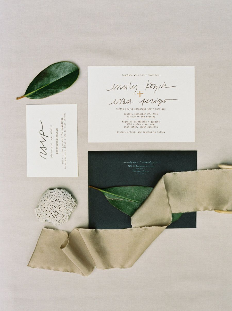 Invitations: Perregeaux Wedding Photography - http://www.stylemepretty.com/portfolio/perregeaux-wedding-photography Photography: Kyle John Photography - kylejohnphoto.com   Read More on SMP: http://www.stylemepretty.com/2016/01/29/destination-charleston-wedding-with-a-contemporary-vibe/