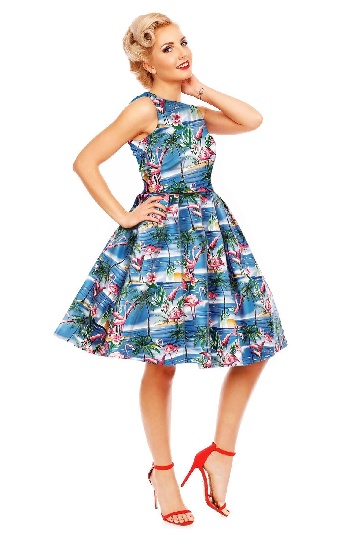 86049d05454b18 Annie Flamingo Palm Tree Island Retro Swing Dress in Blue ...