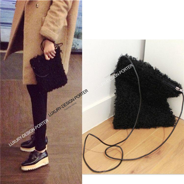 74c11bcd05 Designer Black Curly Elegant faux fur Cross body bag purse with Genuine  leather strap runway IT bag
