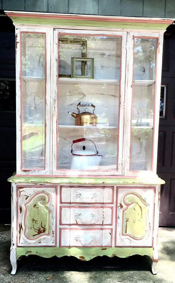 Superior French Country Painted Hutch China Cabinet Por BlackSheepMill
