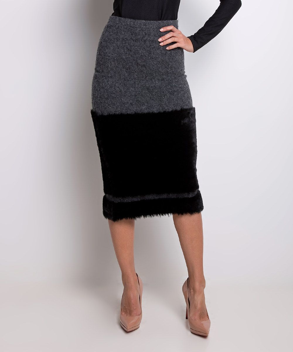 Look at this Natalia Romano Gray Valentina Wool-Blend Skirt on #zulily today!