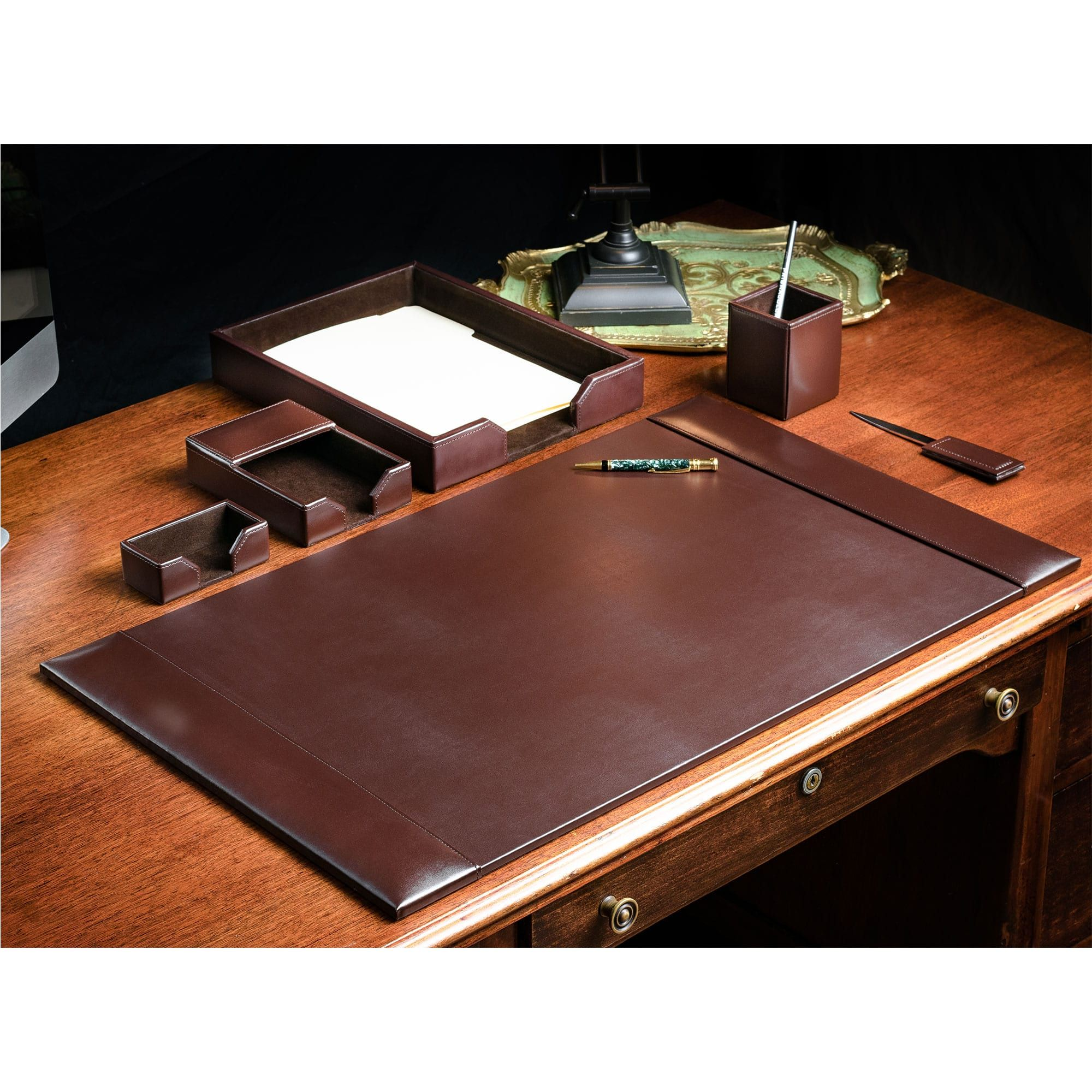Brown Bonded Leather Desk Set 6pc In 2020 L Shaped Executive Desk Executive Desk Desk Set