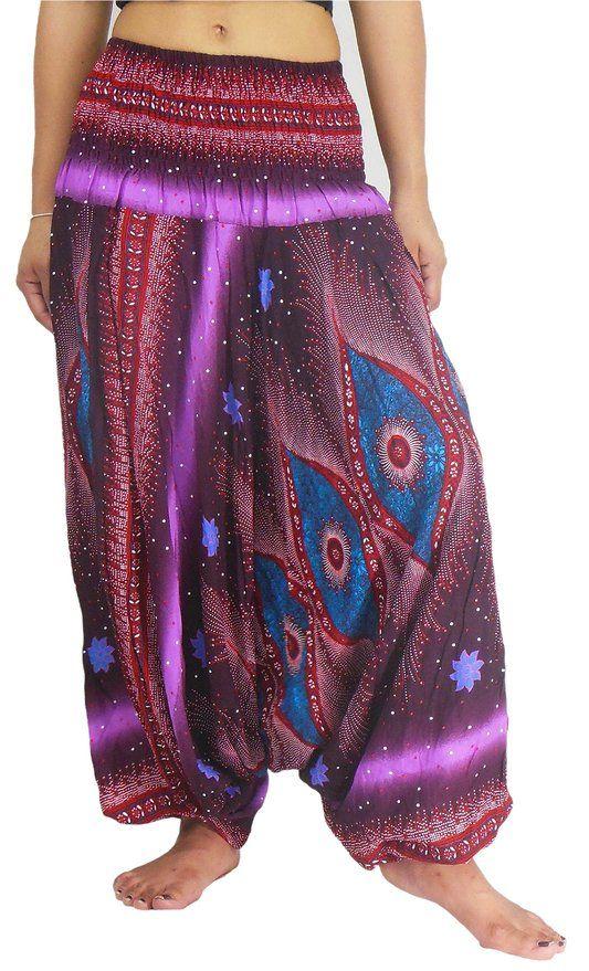 ... Girl Skirt Mission Photoshoot in India NaLuck Women's Boho Peacock Floral Jumpsuit Smocked Waist Yoga Harem Pants
