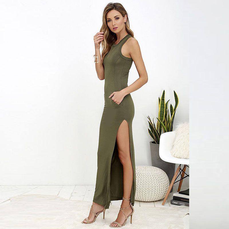 4fe8011734 Summer Dress Women Fashion Casual Maxi Dress Slim Elastic Sleeveless High  Slit Sexy Long Tight Dress Vestido 1056 - Army Green
