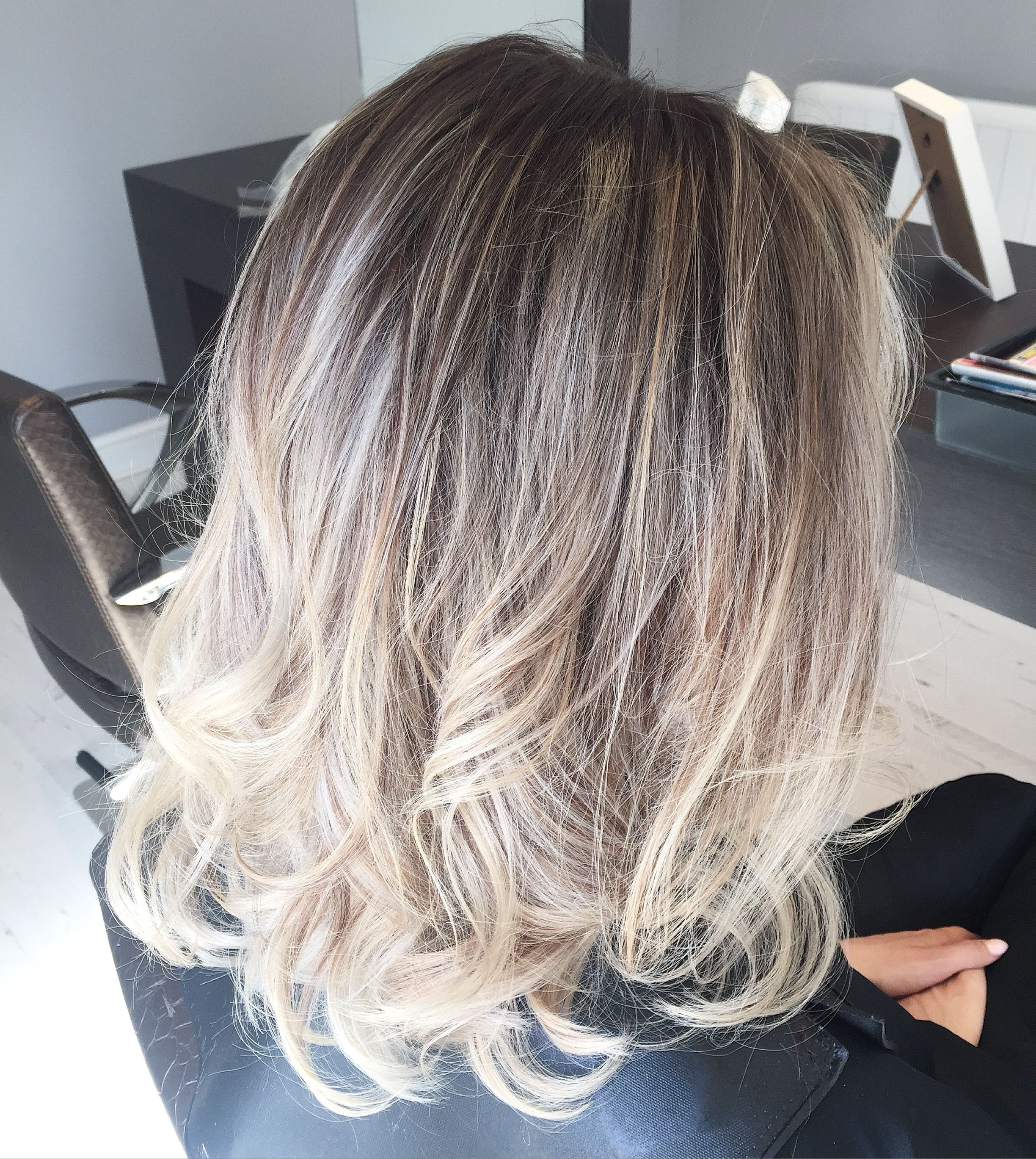Fresh Ash Blonde with Intentional regrowth From dark to light