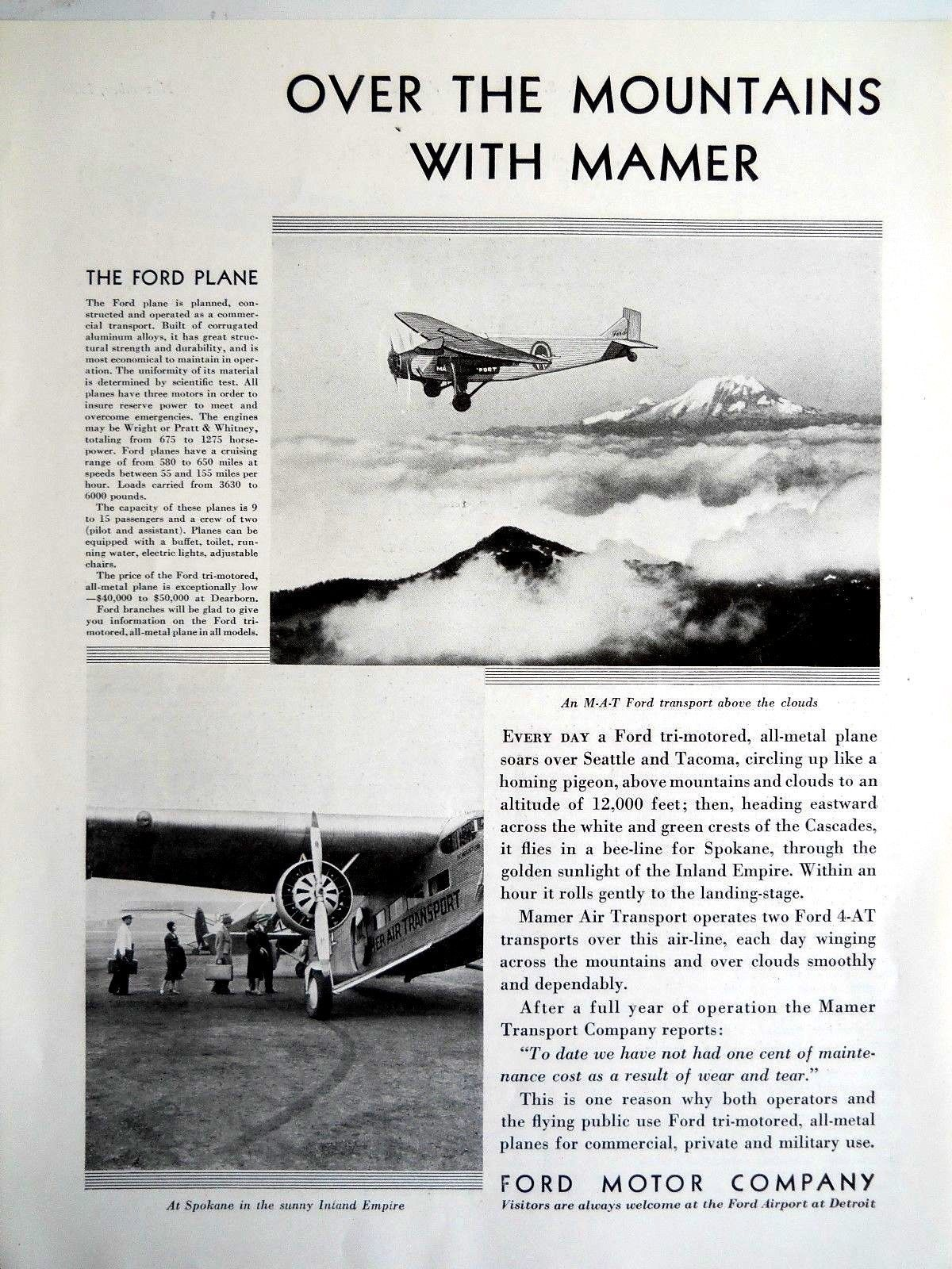 Mamer Airlines 1930 Ford Tri Motor Over The Mountains Ad 11in x 8in | eBay