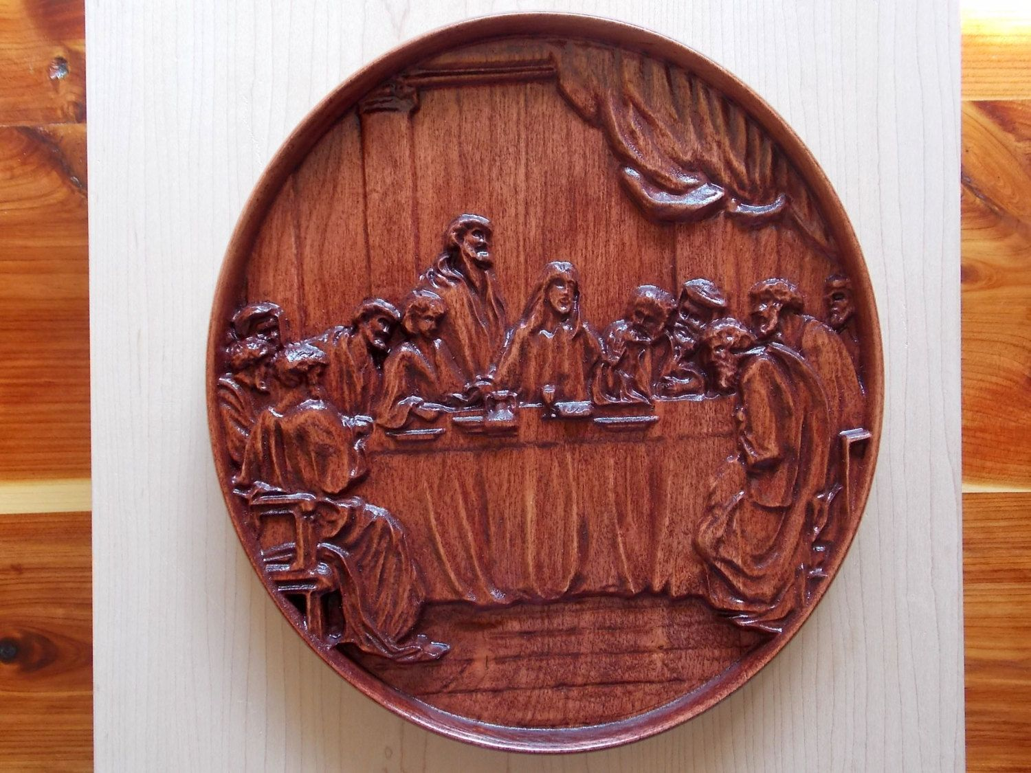 The last supper x wall hanging the last supper birch wood dark