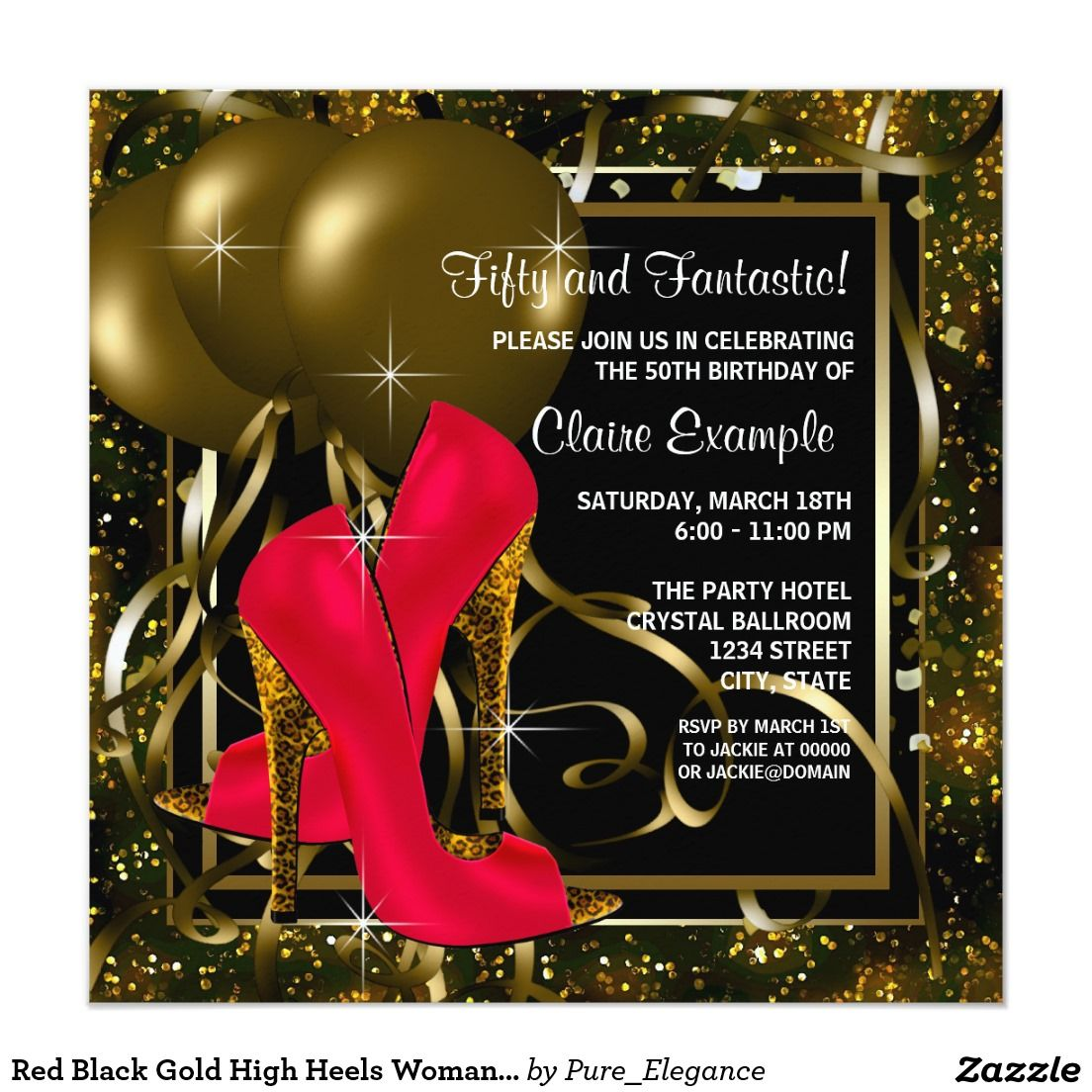 Red Black Gold High Heels Womans Birthday Party Invitation | High ...