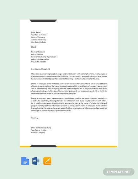 Free Letter for Scholarship from Employer