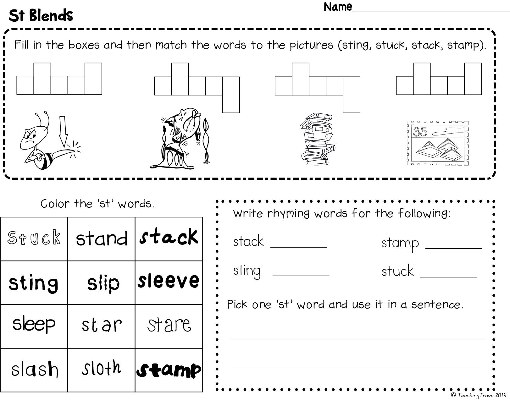Blends Worksheets For S L And R Blends