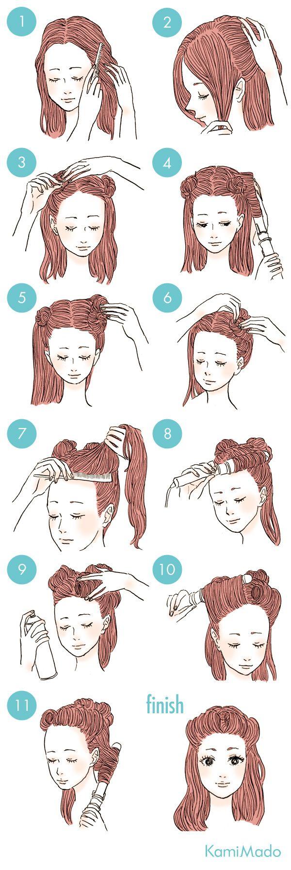前髪をロールアップ 50年代風レトロなハーフダウン イラスト付き ヘアスタイリング ヘアスタイル ロング 髪 アレンジ