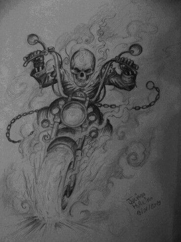 Ghost Rider Ghost Rider Tattoo Ghost Rider Drawing Bike Drawing