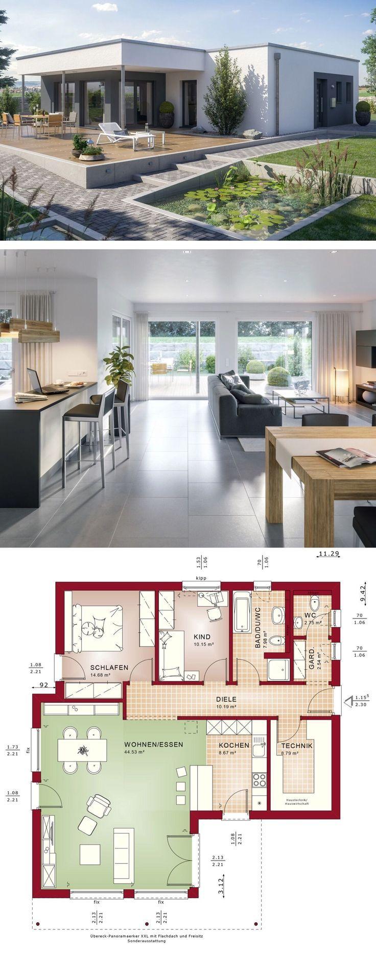 Winkelbungalow modern mit Flachdach Architektur, 3 Zimmer