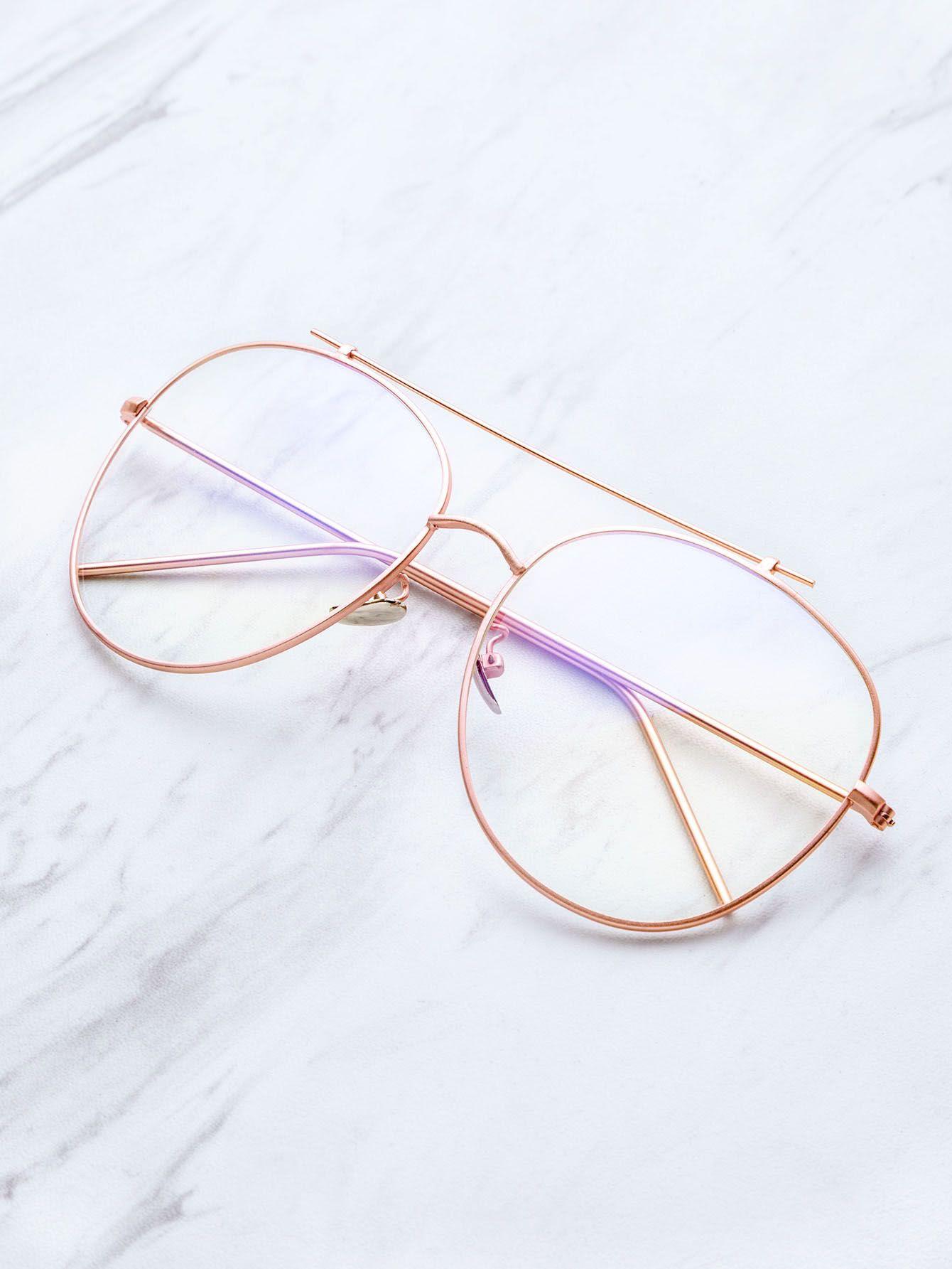 Rose Gold Frame Clear Lens Double Bridge Glasses | MakeMeChic.COM ...