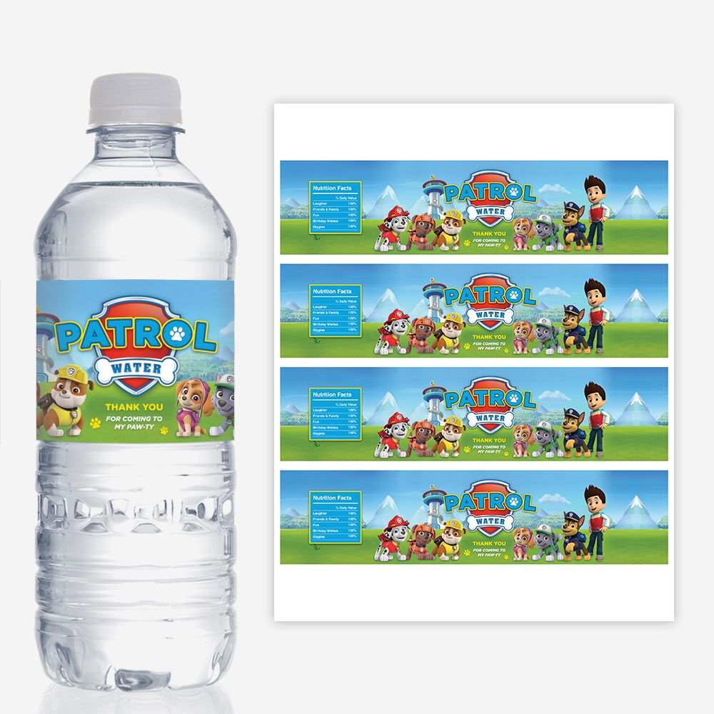 Paw patrol water bottle labels printable birthday party for Decor water bottle