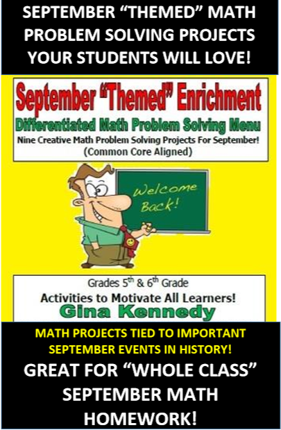 """SEPTEMBER """"BACK TO SCHOOL"""" """"THEMED"""" MATH PROBLEM SOLVING PROJECTS GREAT HOMEWORK SOLUTION Nine engaging September critical thinking math problems with multiplication fractions geometry measurement decimals fractions and so much more Can easily be assigned for September math homework projects I send these problems home every month and they love the rigor and challenge"""
