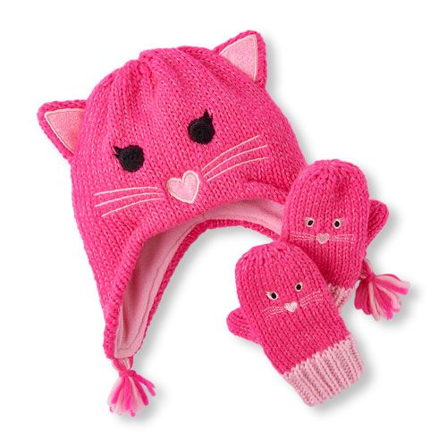df52a174cf9 Toddler Girls Sparkle Cat Hat And Mittens Set