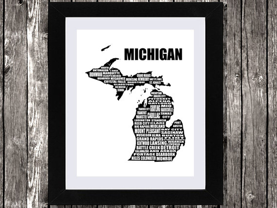 Michigan state map printable art typographic map michigan cities towns detroit
