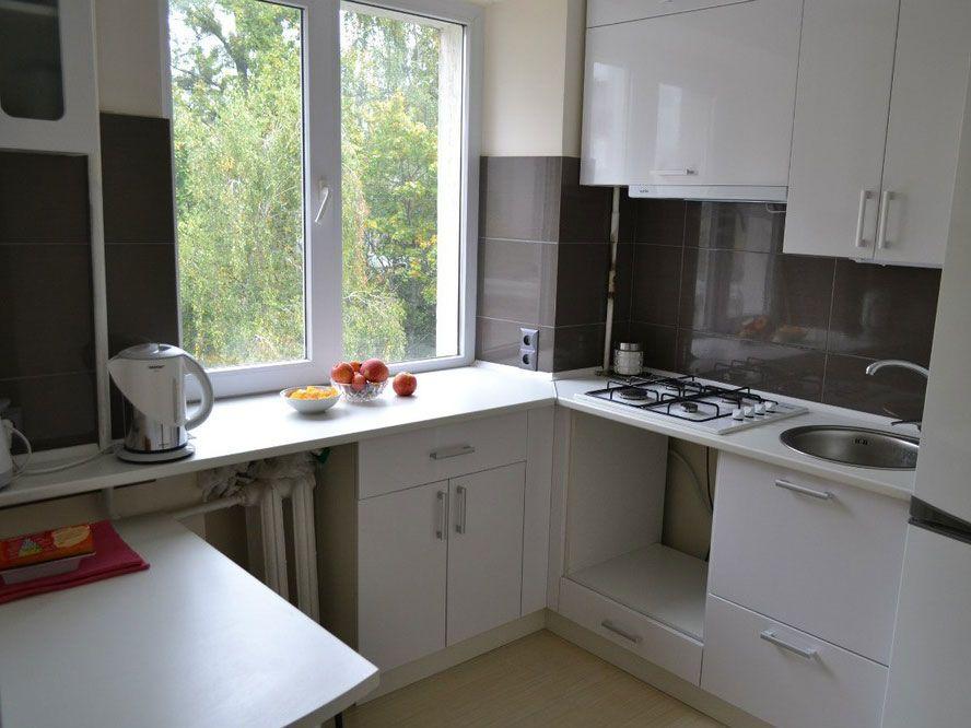 einrichtungsideen kleine küche L-form holz schrankfronten Küche